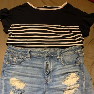 American eagle short with free top